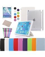Besdata® Apple iPad Smart Housse de protection en polyuréthane avec Coque arrière pour IPad Air, Blanc - PT4101