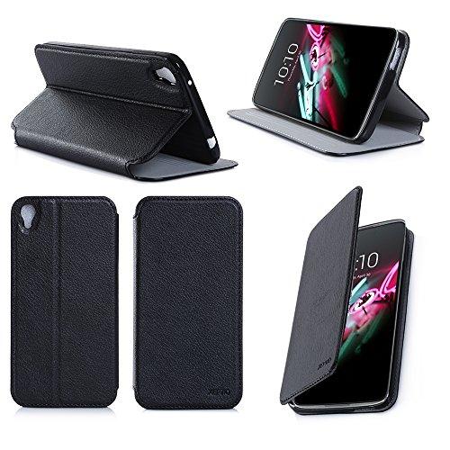 Nera Custodia Pelle Ultra Slim per Alcatel Onetouch Idol 3 5.5 smartphone 2015 - Flip Case Funda Cover protettiva Idol 3 5.5 pollici 4G (PU Pelle - Nero/Black) - XEPTIO accessori