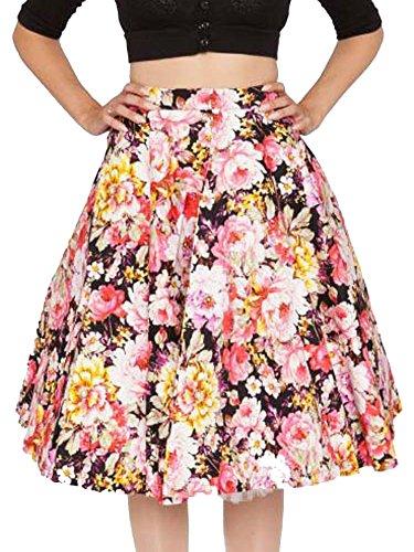 KufvWomens-Vintage-Floral-Pleated-Flare-Big-Swing-Skater-Midi-Skirts