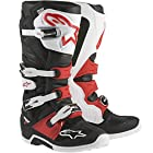 Alpinestars Adult MX Tech 7 Motocross Boots Black White Red Size 10