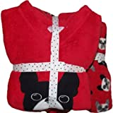 Girls Cosy Thick Fleece Pyjamas Red Puppy Dog