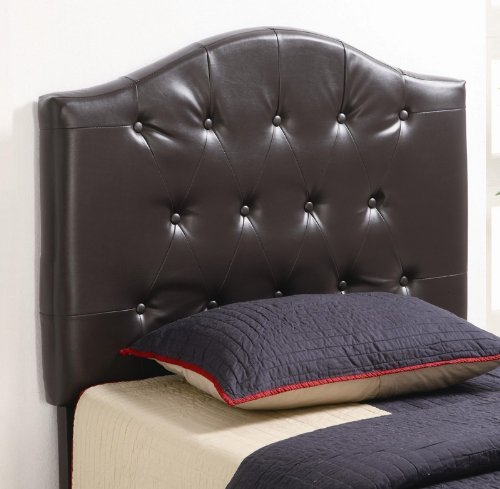 Cheap Twin Size Kid Headboard with Button Tufted in Dark Brown Faux Leather (VF_460302)