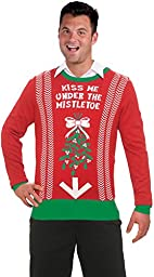 Forum Novelties Men\'s Under Mistletoe Novelty Christmas Sweater, Red/Green, Large