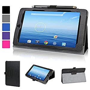 Evecase Leather Folio Stand Case Cover with Magnetic Closure for E-Fun Nextbook NX700QC16G and Nextbook Ares 7 Tablet (2015 Model NXA7QC132) - Black