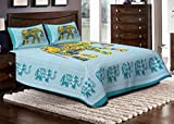 Jaipuri Haat Elephant Printed Cotton Double Bedsheet With 2 Pillow Covers- King Size, Green