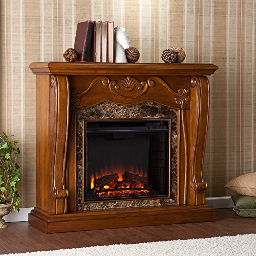 Traditional Electric Fireplace Remote Control Operated , Walnut Finish
