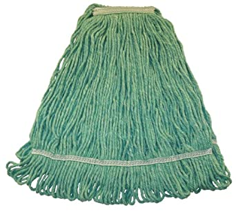 """Wilen A01513, Hospital Pro M Antimicrobial Wet Mop, Large, 1-1/4"""" Tape Band, Green (Case of 12)"""