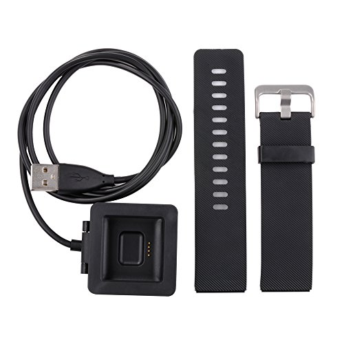 XCSOURCE Black Replacement Watch Band with Metal Clasps + USB Charger for Fitbit Blaze TH434