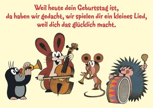 Lustige Postkarte mit dem Maulwurf - Maulwurf Geburtstagsständchen mit dem Maulwurf - Maulwurf zur Geburt
