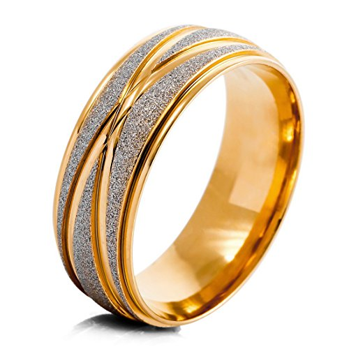 Men'S Stainless Steel Rings Band Gold Silver Striped Wedding Matte Elegant Size12