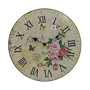 Hippih Silent Round Wall Clocks 12 Inches Living Room Decorative Vintage Country
