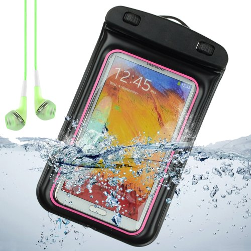 Sumaclife Waterproof Pouch Case For Samsung Galaxy Note 3 / Samsung Galaxy Note 2 / Galaxy S4 (Pink And Black) + Green Vangoddy Earphones With Mic