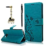 Note 5 Case,Samsung Galaxy Note 5 Case - BADALink Fashion Wallet PU Leather with Embossed Flowers Butterfly [Card Holders] Flip Cover with Hand Strap & 3D Cute Elephant Dust Plug & Stylus Pen - Blue