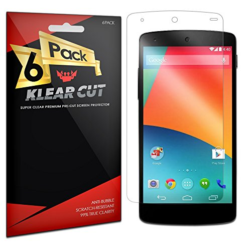 Klear Cut [6 Pack] - Screen Protector For Google Nexus 5 - Lifetime Replacement Warranty Anti-Bubble & Anti-Fingerprint High Definition (Hd) Clear Premium Pet Cover - Retail Packaging