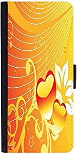Snoogg Abstract Romantic Wallpaper Of Floral Themes In Orange Designer Protec...