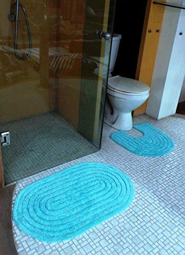 Krishna Carpet Heavy Quality(850 Gram Set Weight) Oval Shape 2 Pcs Bluel Color Large Size(Mat Size 50 x 80 Cm Pedestal Size 50 x 50 Cm) Bathmat Set