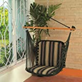 Hangit Soft Multi-color Hammock swings for home indoor in wood & fabric (Green)