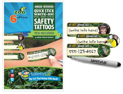 Quick Stick Write-on! Child ID Tattoos (Zoo) - 1