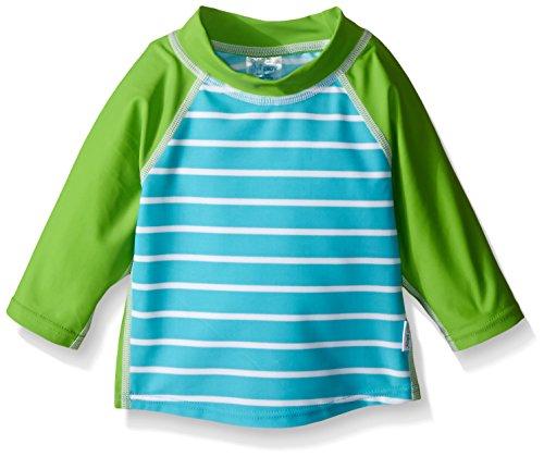 i play. Boys' Three-Quarter Sleeve Rashguard Shirt, Aqua Stripe, 12 Months