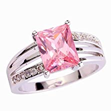 buy Psiroy 925 Sterling Silver Stunning Created Gorgeous Women'S 8Mm*6Mm Emerald Cut Cz Pink Topaz Filled Ring