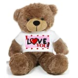 Brown 2 feet Big Teddy Bear wearing a I Love You T-shirt - B00KUDZS8Q