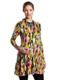 F.E.M. by t-bags Women's Maternity Print Long Sleeve Baby Doll Dress