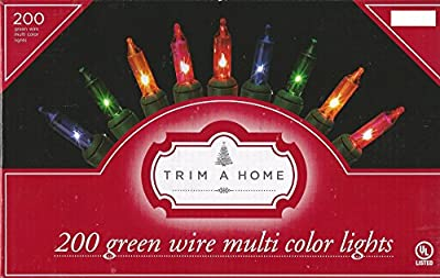 Set of 200 Multi Color Christmas String Lights w/ Green Wire - 40 Ft Lighted Length
