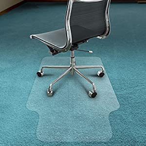Office Marshal Eco-Series Chair Mat with Lip for Carpet Floors, Translucent, 100% Recycled (PET), 100% BPA Free, Environmentally Friendly