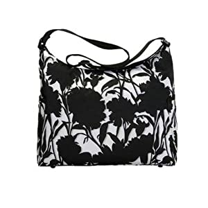 OiOi Black and White Floral Hobo Diaper Bag
