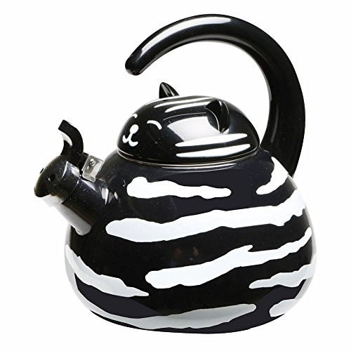 Whistling Black And White Tuxedo Cat Enamel Teakettle (Black And White Kettle compare prices)