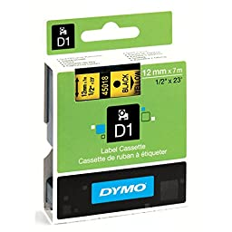 DYMO Standard D1 Labeling Tape for LabelManager Label Makers, Black print on Yellow tape, 1/2\'\' W x 23\' L, 1 cartridge (45018)