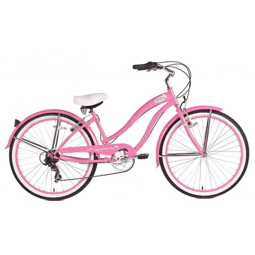 Micargi Rover 7-Speed Beach Cruiser Bike, Pink, 26-Inch