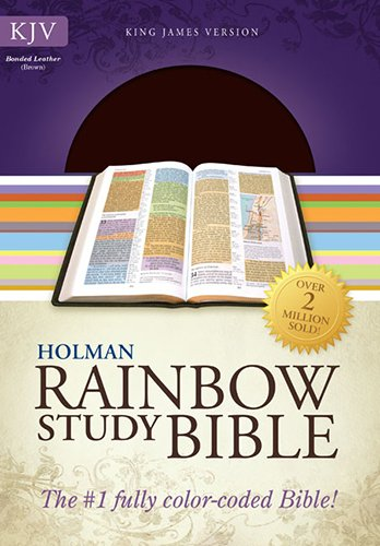 KJV Rainbow Study Bible, Brown Bonded Leather (Color Coded Bible compare prices)