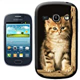 Fancy A Snuggle Furry Cute Innocent Kitten Sat in Barn Design Hard Case Clip On Back Cover for Samsung Galaxy Fame S6810