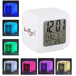 Bulfyss Glowing Cube LED 7 Color Changing Digital Alarm Clock - With Temperature + Day + Month + Date + Time + Alarm - Voted Best Gift Item