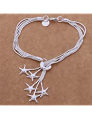 Fashion Beautiful 925 Silver Five Star Pendant Bracelet,for Women, Teen Girls, Young Girls, and Men+Velvet Pouch