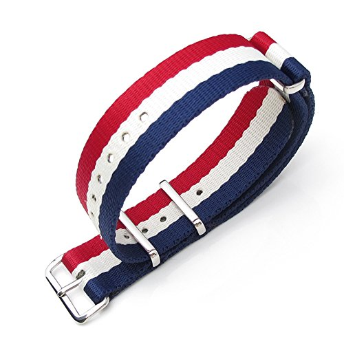 Miltat 20Mm G10 Military Watch Strap Ballistic Nylon School Look Armband - French Flag, Brushed