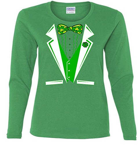 Patty Party Tuxedo Tux St. Patricks Day Ladies Missy Fit long sleeve T-Shirt
