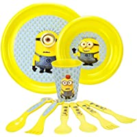 Despicable Me Minions Toddler Dinnerware 9 Piece Set, With Official Minion Forks, Spoons, Plates, And Cups