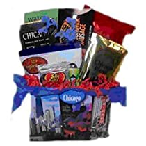 Chicago Sampler Basket with Chicago-themed treats (Chicago Chocolate Bar; Jelly Belly Jelly Beans, Chicago Coffee, and more)