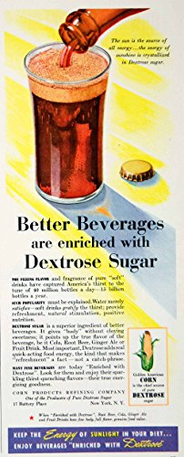 1942 Ad Corn Dextrose Sugar Soft Drink Soda Pop Beverage Diet Humorous Food Ylk1 - Original Print Ad