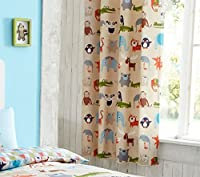 "Cartoon Safari Animals Beige Blue Green 66"" X 72"" - 168cm X 183cm Ring Top Curtains from Curtains"