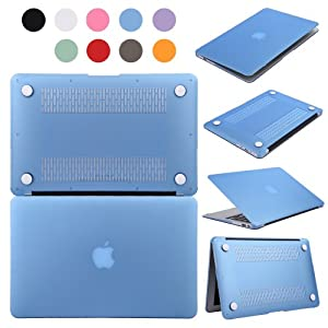 TKOOFN Hard PC Case Crystal Surface Protective Shell & Flannel Storage Bag for Apple 15-inch MacBook Pro (Model: A1286), Blue - PT9302