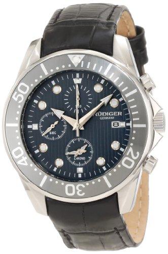Rudiger Men's R2001-04-011L Chemnitz Grey IP Rotating Bezel Grey Dial Chronograph Watch
