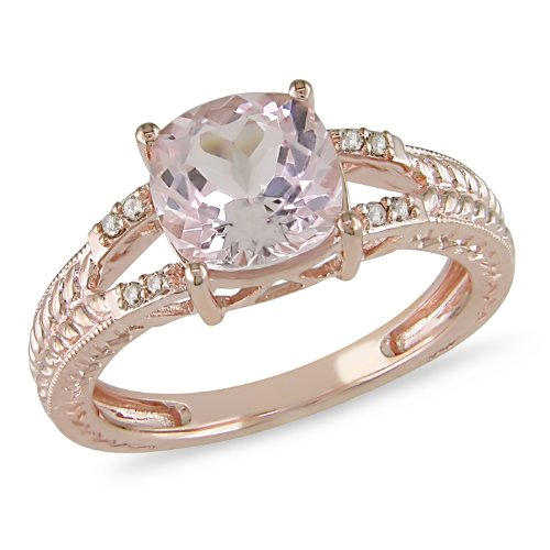 1-1/10 ct.t.w. Morganite and Brown Diamond Accent Ring in 10k Pink Gold
