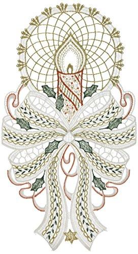 Plauner, 19 x 35 cm, Spitze Spitze, große Kerze Weihnachten Fensterbild/Sonnenspiel, Silber/Rot