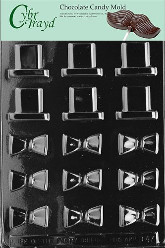 Cybrtrayd D047 B/S Black Tie and Hat Chocolate Candy Mold with Exclusive Cybrtrayd Copyrighted Chocolate Molding Instructions (Hat Chocolate Mold compare prices)