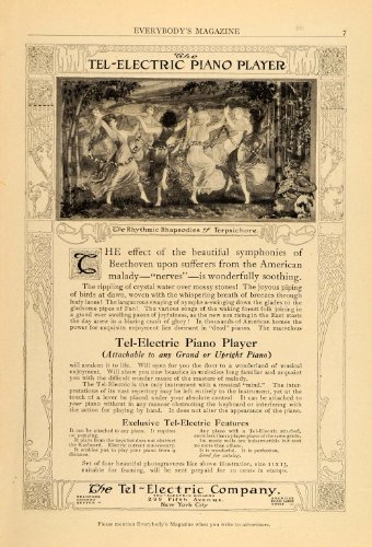 1911 Vintage Ad Tel-Electric Piano Player Dancing Dance - Original Print Ad