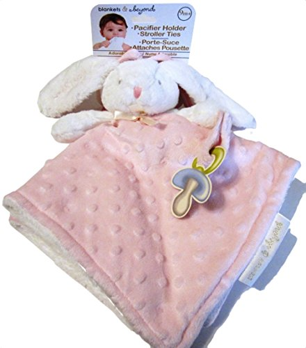 Blankets & Beyond White And Pink Bunny Security Blanket With Pacifier Holder And Stroller Ties