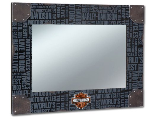 Harley-Davidson® Distressed Wood Frame Wall Mirror. Harley Block Scrpt. Corner Accents, Bar & Shield Logo. Large, 30 X 21.5-Inches. HDL-15221